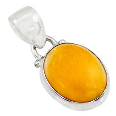 925 sterling silver 6.19cts natural yellow amber bone oval pendant r12891