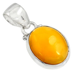 6.68cts natural yellow amber bone 925 sterling silver pendant jewelry r12892