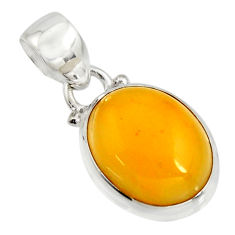 7.82cts natural yellow amber bone 925 sterling silver pendant jewelry r12893