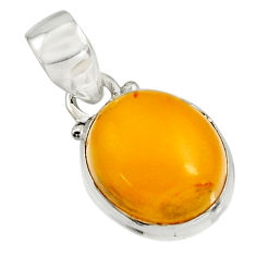 925 sterling silver 7.13cts natural yellow amber bone pendant jewelry r12894
