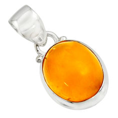 7.11cts natural yellow amber bone 925 sterling silver pendant jewelry r12895