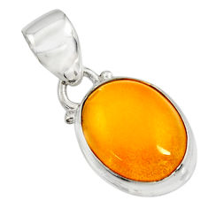 925 sterling silver 6.19cts natural yellow amber bone oval pendant r12897
