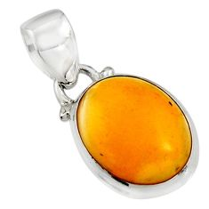 6.19cts natural yellow amber bone 925 sterling silver pendant jewelry r12898
