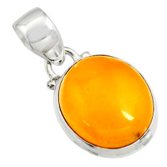 8.35cts natural yellow amber bone 925 sterling silver pendant jewelry r12899