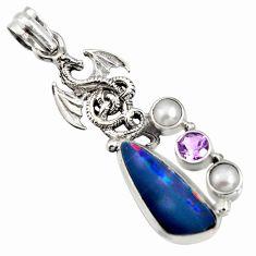 7.01cts natural blue doublet opal australian 925 silver dragon pendant r13509