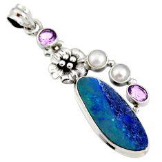 10.44cts natural blue doublet opal australian 925 silver flower pendant r13510