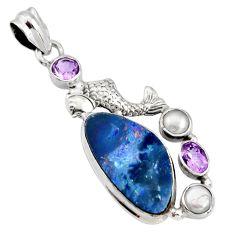 925 silver 9.44cts natural blue doublet opal australian fish pendant r13511