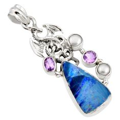 9.62cts natural blue doublet opal australian 925 silver dragon pendant r13515