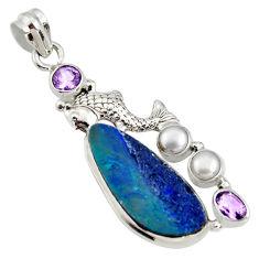 10.00cts natural blue doublet opal australian 925 silver fish pendant r13521
