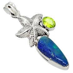 925 silver 8.24cts natural blue doublet opal australian star fish pendant r13524