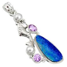 9.23cts natural blue doublet opal australian 925 silver fish pendant r13527