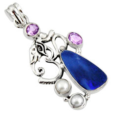 925 silver 8.42cts natural blue doublet opal australian amethyst pendant r13528