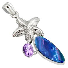 7.72cts natural blue doublet opal australian 925 silver star fish pendant r13529