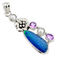 7.99cts natural blue doublet opal australian 925 silver flower pendant r13531