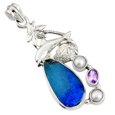 925 silver 7.58cts natural blue doublet opal australian dolphin pendant r13532