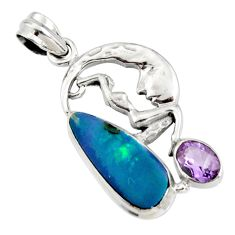 8.22cts natural blue doublet opal australian 925 silver angel pendant r13538