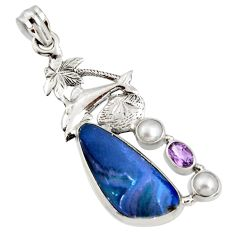 925 silver 8.71cts natural blue doublet opal australian dolphin pendant r13539
