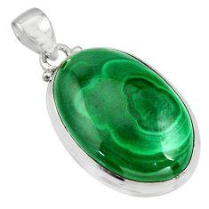 32.56cts natural green malachite (pilot's stone) 925 silver pendant r13546