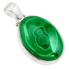 27.13cts natural green malachite (pilot's stone) 925 silver pendant r13558