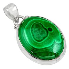 25.28cts natural green malachite (pilot's stone) 925 silver pendant r13560