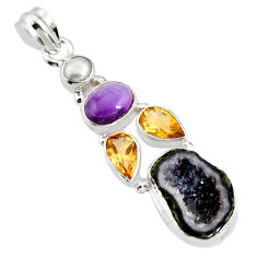 13.07cts natural blue geode druzy amethyst pearl 925 silver pendant r13565