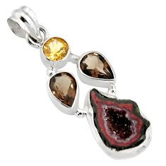 11.68cts natural blue geode druzy smoky topaz 925 sterling silver pendant r13574