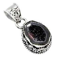 6.70cts natural brown geode druzy 925 sterling silver pendant jewelry r13589