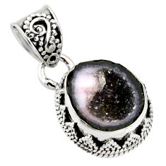 925 sterling silver 7.04cts natural brown geode druzy fancy pendant r13590