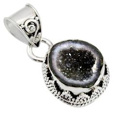 6.26cts natural brown geode druzy 925 sterling silver pendant jewelry r13592