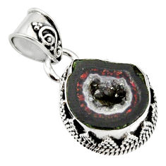 925 sterling silver 8.19cts natural brown geode druzy pendant jewelry r13593