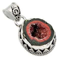 9.07cts natural brown geode druzy 925 sterling silver pendant jewelry r13594