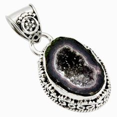 7.67cts natural brown geode druzy 925 sterling silver pendant jewelry r13595