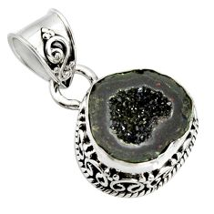 925 sterling silver 6.57cts natural brown geode druzy fancy pendant r13597