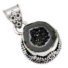 7.03cts natural brown geode druzy 925 sterling silver pendant jewelry r13598
