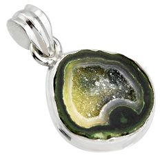 925 sterling silver 10.75cts natural brown geode druzy fancy pendant r13604