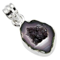 8.86cts natural brown geode druzy 925 sterling silver pendant jewelry r13613