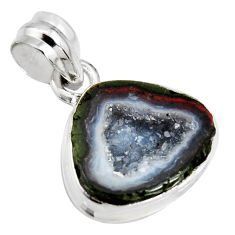 10.22cts natural brown geode druzy 925 sterling silver pendant jewelry r13619