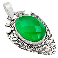 13.76cts natural green chalcedony 925 sterling silver pendant jewelry r13622