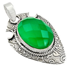 925 sterling silver 13.36cts natural green chalcedony oval pendant r13624