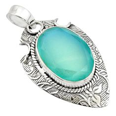 925 sterling silver 13.09cts natural aqua chalcedony oval pendant jewelry r13627