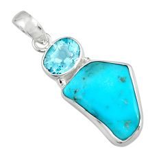 11.69cts green sleeping beauty turquoise topaz 925 silver pendant r14302