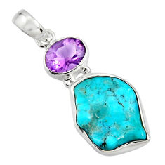 11.74cts green sleeping beauty turquoise amethyst 925 silver pendant r14303
