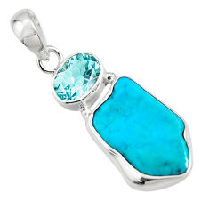 11.26cts green sleeping beauty turquoise topaz 925 silver pendant r14306