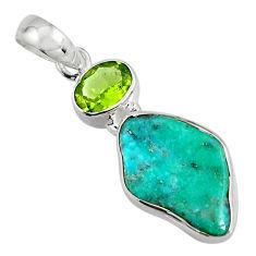9.67cts green sleeping beauty turquoise peridot 925 silver pendant r14311