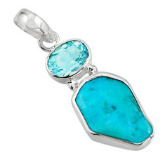 11.26cts green sleeping beauty turquoise topaz 925 silver pendant r14316