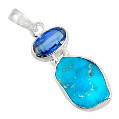 10.22cts green sleeping beauty turquoise kyanite 925 silver pendant r14317