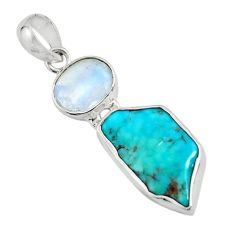 11.26cts green sleeping beauty turquoise moonstone 925 silver pendant r14318