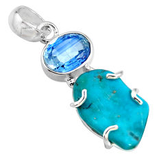 14.73cts green sleeping beauty turquoise kyanite 925 silver pendant r14322
