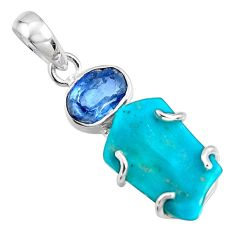 11.93cts blue sleeping beauty turquoise kyanite 925 silver pendant r14328
