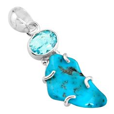 12.52cts green sleeping beauty turquoise topaz 925 silver pendant r14330